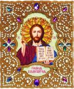 Набор для вышивки иконы бисером по дереву в жемчужном окладе Господь Вседержитель