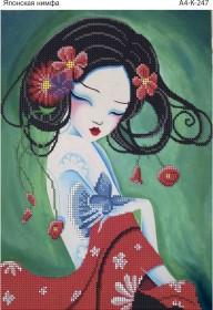 Схема для вышивки бисером на габардине Японская нимфа