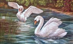 Набор для выкладки алмазной мозаикой Лебединая пара