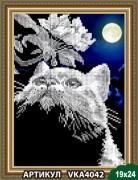 Рисунок на ткани для вышивки бисером Кот с веточкой