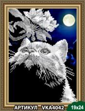 Рисунок на ткани для вышивки бисером Кот с веточкой Art Solo VKA4042