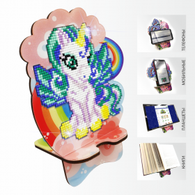 Подставка под телефон с алмазной мозаикой Единорог на радуге Art Solo АРМ-07 - 299.00грн.