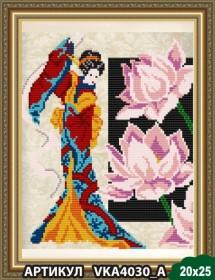 Рисунок на ткани для вышивки бисером Девушка с лотосом, , 54.00грн., VKA4030А, Art Solo, Наборы и схемы для вышивки бисером и нитками Восток