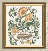 Схема для вышивки бисером на габардине Цветочный чай. Чайник
