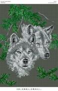 Рисунок на габардине для вышивки бисером Вовки пара