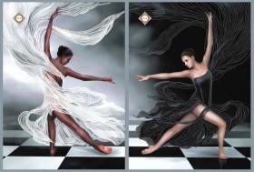 Схема для вышивки бисером на атласе Черное и белое Диптих, , 180.00грн., СЛТ-2209, Миледи, Картины из нескольких частей