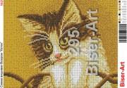 Схема вышивки бисером на габардине Котик