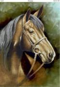 Схема для вышивки бисером на габардине Лошадь