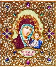 Набор для вышивки иконы бисером по дереву в жемчужном окладе Богородица Казанская Вдохновение IZN-001
