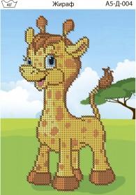 Схема для вышивки бисером на габардине Жираф