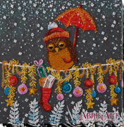 Набор-миди для вышивки бисером на натуральном художественном холсте Подарок совушке