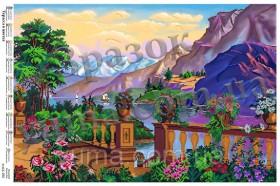 Схема вышивки бисером на атласе Терраса в цветах, , 140.00грн., ЮМА-465, Юма, Большие схемы вышивки бисером