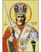 Схема вишивкі бісером на габардині Миколай Чудотворець з мечем