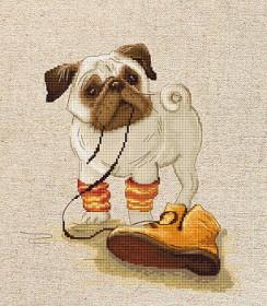 Набор для вышивки крестом Мопс, , 322.00грн., В1122, Luca-S, Собака символ 2018 года своими руками