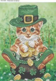 Схема для вышивки бисером на габардине Талисман на удачу, , 70.00грн., А3-К-381, Acorns, Коты, бабочки, волки и птицы