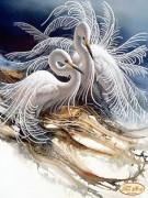 Схема вышивки бисером на атласе Белоснежные цапли