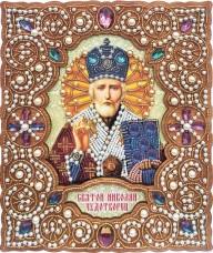 Набор для вышивки иконы бисером по дереву в жемчужном окладе Николай Чудотворец Вдохновение IZN-003