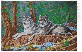 Схема вышивки бисером на атласе Пара волков, , 140.00грн., ЮМА-267, Юма, Большие схемы вышивки бисером