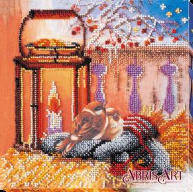 Набор-миди для вышивки бисером на натуральном художественном холсте У огонька