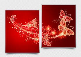Схема для вышивки бисером на атласе Ажурные бабочки (красный) Диптих, , 182.00грн., АРЗ-014, А-строчка, Картины из нескольких частей