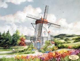 Схема вышивки бисером на атласе Ветряная мельница