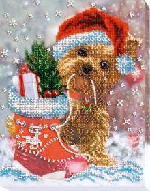 Набор для вышивания бисером на холсте Новогоднее чудо, , 275.00грн., АВ-557, Абрис Арт, Собака символ 2018 года своими руками