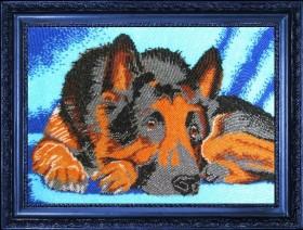 Схема вышивки бисером на атласе Овчарка, , 66.00грн., СА571Б, Баттерфляй (Butterfly), Собака символ 2018 года своими руками