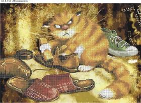 Схема для вышивки бисером на габардине Провинился, , 70.00грн., А3-К-354, Acorns, Коты, бабочки, волки и птицы
