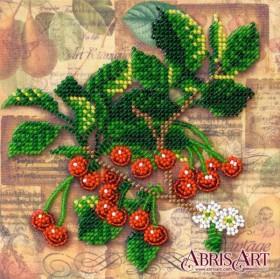 Набор-мини для вышивки бисером на натуральном художественном холсте Веточка вишни
