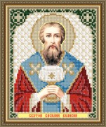 Схема вышивки бисером на габардине Святой Василий Великий