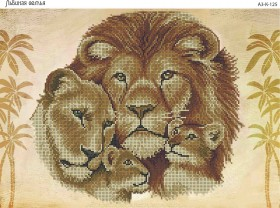 Схема для вышивки бисером на габардине Львиная семья