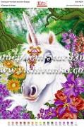 Схема для вышивки бисером на атласе Єдинорог в квітах
