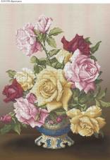 Схема для вышивки бисером на габардине Букет роз Acorns А2-К-378