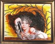 Рисунок на атласе для вышивки бисером Леди в черном