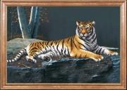 Схема для вышивки бисером на атласе Ночной тигр
