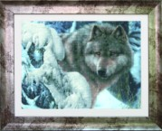 Схемы для вышивания бисером на авторской канве Волк