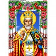 Схема вышивки бисером на габардине Святой Николай
