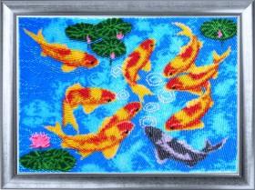 Набор для вышивки бисером Девять карпов, , 514.00грн., 610Б, Баттерфляй (Butterfly), Схемы и наборы для вышивки бисером по Фен шуй