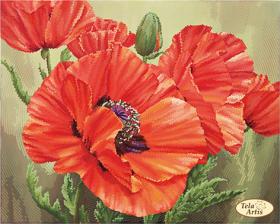 Схема для вышивки бисером на атласе Алые маки, , 95.00грн., ТА-375, Tela Artis (Тэла Артис), Цветы