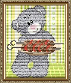 Набор для выкладки алмазной мозаикой Мишка с шашлыком Art Solo АТ5533 - 248.00грн.
