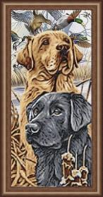 Схема вышивки бисером на габардине Лабрадоры, , 105.00грн., VKA3129, Art Solo, Собака символ 2018 года своими руками