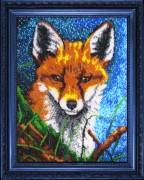Рисунок на атласе для вышивки бисером Лисенок