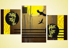 Схема для вышивки бисером на атласе Журавлиный танец Триптих (серия элит), , 375.00грн., AР2-012, А-строчка, Большие схемы вышивки бисером