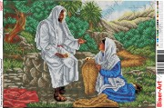 Схема вышивки бисером на габардине Ісус Христос і самарянка