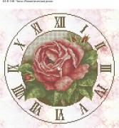 Схема для вышивки бисером на габардине Часы Романтическая Роза