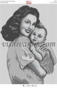 Рисунок на габардине для вышивки бисером Материнська любов