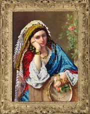 Набор для вышивки ювелирным бисером Девушка в платке Краса и творчiсть 40415