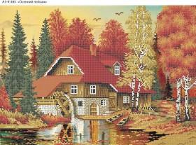 Схема для вышивки бисером на габардине Осенний пейзаж