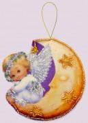 Набор для изготовления игрушки из фетра для вышивки бисером Ангел на луне