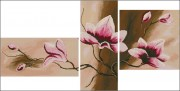 Схема вышивки бисером на габардине Триптих Цветы 4